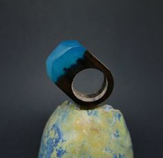 Wooden handmade ring Exotic wood Turquoise dye Resin epoxy ring crafted by hand One of its kind Only one piece just for you by ForestDreamerCZ on Etsy
