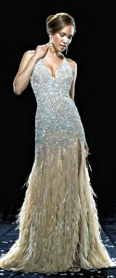 Swarovski Crystal and feather Gown