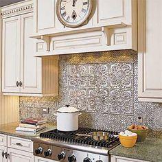 Decorative Tin Tile Backsplash- LOVE it! plastic tin tiles from Home Depot