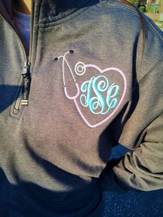 Monogrammed Nursing Quarter Zip Pullover by TantrumEmbroidery