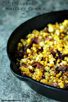 Charred Skillet Corn with Bacon from kissmysmoke.com. This charred skillet corn with bacon is a great way to use up any leftover corn on the cob you have during corn season. The addition of bacon takes this side dish recipe to the next level! #grill #skillet #corn #bacon #sidedish Corn Recipes, Side Dish Recipes, Veggie Recipes, Dinner Recipes, Easy Recipes, Skillet Corn, Grill Skillet, Grilling Recipes, Cooking Recipes