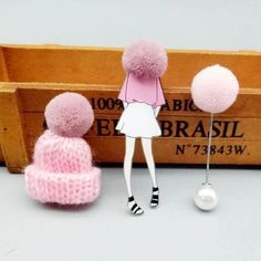Cute set of 3 pins: girl wearing large winter cap, cap with pompom and pompom pin.Add unique element to your winter outfit! Pink Jewelry, Body Jewelry, Pink Sale, Thanksgiving Gifts, Winter Trends, Girls Wear, Animal Design, Pink Girl, Jewelry Collection