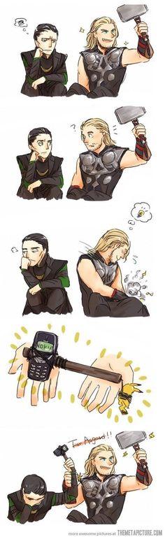 "Thor and Loki with Mjolnir and Nokia. Loki is like ""Thor, really? Marvel Jokes, Funny Marvel Memes, Dc Memes, Avengers Memes, Marvel Dc Comics, Funny Memes, Funny Comics, Loki Funny, Thor Jokes"