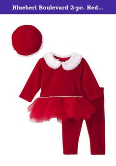 Blueberi Boulevard 2-pc. Red Santa Tutu Leggings (6-9M, Red). Celebrate Christmas in style with this cute 2-piece set from Blueberi Boulevard. The top has a fold down fair fur collar and tulle tutu that pairs perfectly witht he solid color red velvet leggings for an adorable outfit. Pair with cute shoes for the perfect party look.