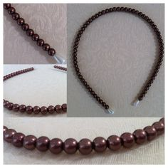 Bronzy dark brown faux glass 8mm pearl beaded headband - AUD$6.95 + postage or local pick up available.