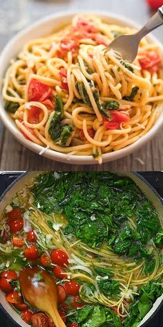 healthy dinner recipes videos If you are looking for a quick, tasty, and filling meal, this One-Pot Pasta with Spinach is just what you need! Minimum cleanup and prep work Vegetarian Recipes, Cooking Recipes, Healthy Recipes, Vegan Vegetarian, Thai Vegan, Vegan Ramen, Easy Dinner Recipes, Easy Meals, Easy Recipes