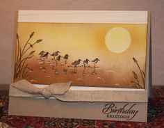 handmade card ... Wetlands birds and grasses in a golden sponged beach scene ... luv it! ... Stampin'Up!