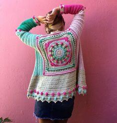 For ideas only Crochet Bolero, Crochet Coat, Crochet Winter, Crochet Jacket, Crochet Cardigan, Love Crochet, Crochet Granny, Beautiful Crochet, Crochet Clothes