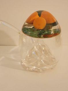 Vintage/Retro Kitsch Perspex/Acrylic Marmalade/Jam Pot With Spoon Oranges In Lid