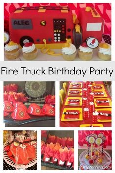A sensational fire truck birthday party that every budding little fireman is going to love. An easy to replicate DIY party that includes ideas for food, decorations and the most amazing firetruck birthday cake. Food Decorations, Birthday Decorations, Boy Birthday Parties, Birthday Cake, Birthday Ideas, Diy Party, Party Ideas, Party Themes For Boys, Party Food And Drinks