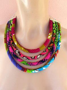 Collana Africana tessuto wax print Estiva quattro corde di nad205