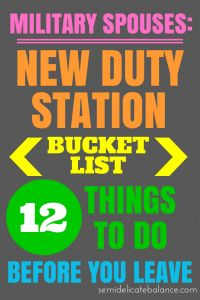 Bucket List for a New Duty Station for Military Families | Military Spouse, PCS