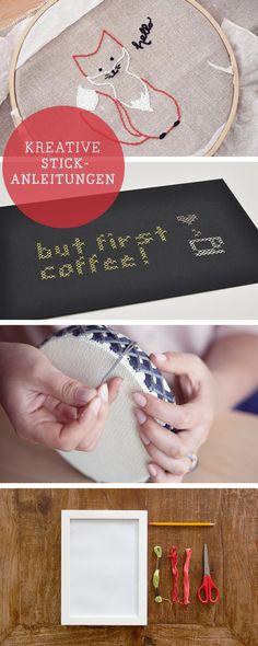 DIY-Anleitungen zum Sticken, Sticken lernen, Vorlagen / diy tutorials for embroidery projects, inspiration via DaWanda.com