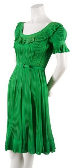 Green pleated dress, House of Dior, 1974, French 70s green pin tuck pleated dress green day wear peasant boho belt wide round neckline knee length
