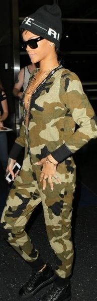 Rihanna in River Island Army Jumpsuit