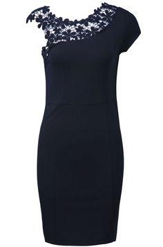 Black Sleeveless Contrast Lace Shoulder Dress//