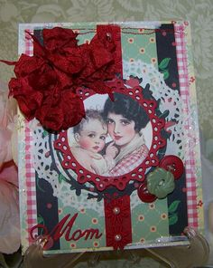 Mothers Day Card Handmade Vintage Retro All Occasion Card for