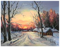 Winter Scene Paintings, Winter Painting, Winter Art, Autumn Scenes, Snow Scenes, Dream Pictures, Beautiful Pictures, Films Western, Wood Painting Art