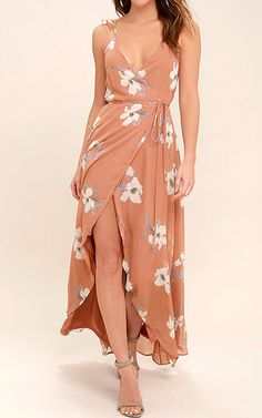 All Mine Rusty Rose Floral Print High-Low Wrap Dress via @bestmaxidress