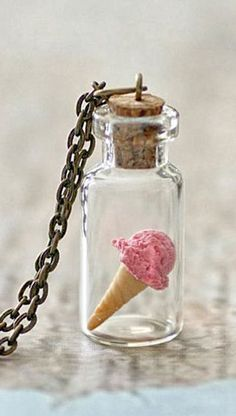 Strawberry Ice-Cream Necklace. Miniature Food Jewellery Jewelry