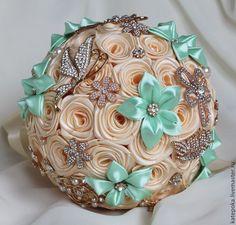 Wedding Brooch Bouquets, Boquet, Hand Bouquet, Kanzashi Flowers, Silk Ribbon Embroidery, Ribbon Crafts, Handmade Flowers, Artificial Flowers, Flower Crown