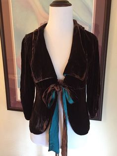 Hale Bob Brown Velvet Cardigan Women's XS 2 Lined In Silk Cocktail Holiday Top #HaleBob #Cardigan #EveningOccasion