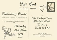 Ideas For Wedding Invitations Vintage Postcard Fonts Shabby Chic Wedding Invitations, Postcard Wedding Invitation, Vintage Wedding Invitations, Diy Invitations, Invites, Wedding Guest Style, Wedding Set, Wedding Things, Wedding Ideas