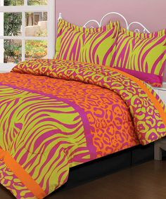 Take a look at this Crazy Neon Comforter Set by Beatrice Home on #zulily today!