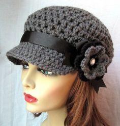 Charcoal Gray Womens Hat, Newsboy, Black, Pearl Button, Flower, Ribbon, Handmade, via Etsy.