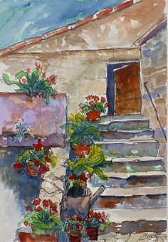 Old stone steps by Karen Weir, Watercolor