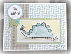 Darling Dinos ~ Zoe ~ Birthday card ~ Watercolors ~ catscrapbooking.com