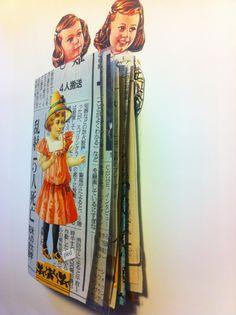 Booklet collage/tampon/vieux papiers/photo.  http://lo-post.tumblr.com/post/77901705408/carnet-de-curiosites-invente-dans-la-nuit-de-24-au