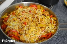 Cheesy Chili Chicken Stir Fry | FitGroove Fitness. We are always looking for ways to put a healthy spin on some favorite comfort foods. I love fajitas, but I don't love the veggies fried in oil, white refined flour in the tortilla shell, or heaps of cheese, sour cream, and other sauces full of salt or sugar or both. This recipe provides a fajita like flavor in a stir fry format to help you keep you eating lean, while giving you great taste!