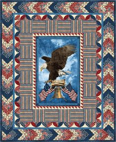 """Old Glory OneStamp Quilt of Valor Pattern uses the Stonehenge """"Old Glory"""" fabric collection from Northcott Download the free pattern and use to make Quilts of Valor using the Old Glory Eagle panel and yardage from the Old Glory collection. CLICK HERE to download free pattern"""