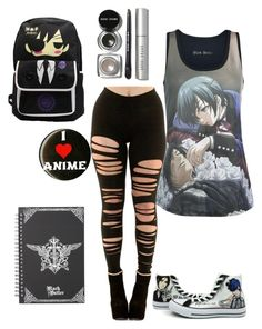 """""""Anime express black butler"""" by animegirllover ❤ liked on Polyvore featuring Bobbi Brown Cosmetics and Converse"""