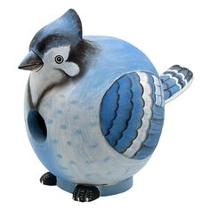 Songbird Essentials Blue Jay Gord-O Birdhouse (1905 RSD) ❤ liked on Polyvore featuring home, outdoors, outdoor decor, blue jay bird house, garden bird houses, garden decor, blue jay birdhouse and bird house