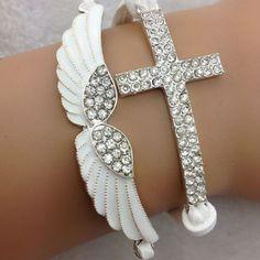 Angel Wings Rhinestone Cross Wax Cord Charm Bracelet