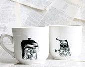 White Doctor Who Themed Tardis and Dalek Altered Teacup/Mug