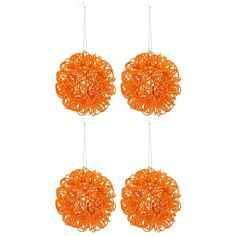 Orange Twisted Metal Glitter Ball Ornaments