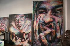 Swirling, Psychedelic Self Portraits by Nikos Gyftakis portraits oil pastel painting