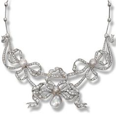 Pearl and diamond necklace, circa 1890. Of festoon design, set throughout with rose- and circular-cut diamonds, decorated at the front with three bows, each centring on a grey button pearl, the central one suspending a pearl drop of similar tint, mounted in 18 carat yellow gold and silver.