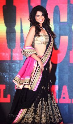 Richa Chadda lin a black, gold and pink lehenga ensemble July 19, 14 #lehenga #choli #indian #hp #shaadi #bridal #fashion #style #desi #designer #blouse #wedding #gorgeous #beautiful