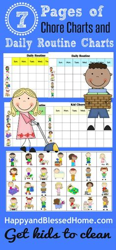 FREE Chore Charts to help get Kids to Clean from http://HappyandBlessedHome.com