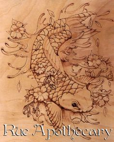 Koi with Blossoms Pyrography by Deven Rue