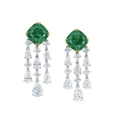 9.66 carat Cushion Cut Colombian Emerald and Diamond Earrings by Ronald Abram