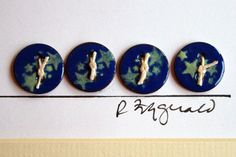 copper enameled penny buttons with stencil