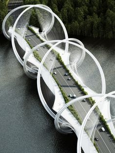 A Roller Coaster Inspired This Stunning Bridge—in a Not Terrifying Way | From above, a strand of DNA. | Credit: Penda Designs | From Wired.com Modern Architects, Futuristic Architecture, Beijing, Rackets, Tennis Racket, Bridge, China, Sports, Hs Sports