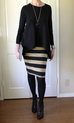 Flared top with slim skirt and booties