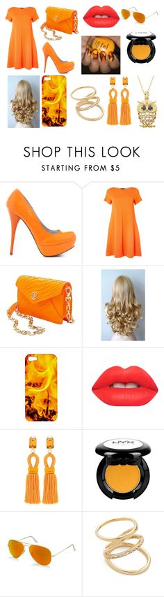 """orange"" by harrystyles01021994harrystyles on Polyvore featuring Veda Soul, Marella, Tory Burch, Lime Crime, Oscar de la Renta, Ray-Ban, Elizabeth and James, Classic Treasures, women's clothing and women's fashion"