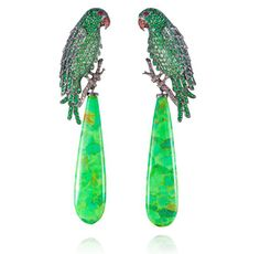 "Lydia Courteille. ""Amazonia collection"". Tsavorite, turquoise, onyx & diamond parrot earrings...♡"